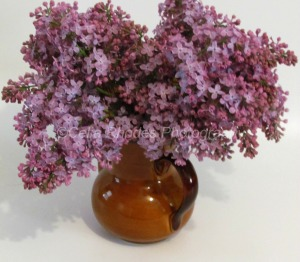 Lilacs in Glazed Brown Teapot